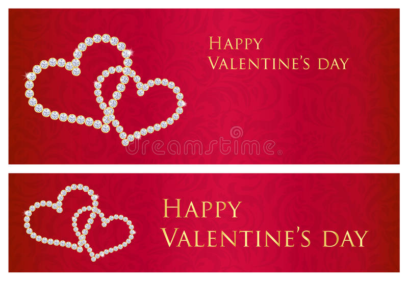 Vale-oferta vermelho do Valentim com o estuque entrelaçado dos corações ilustração stock