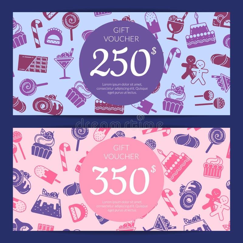 Vale plano de los iconos de los dulces del estilo del vector stock de ilustración