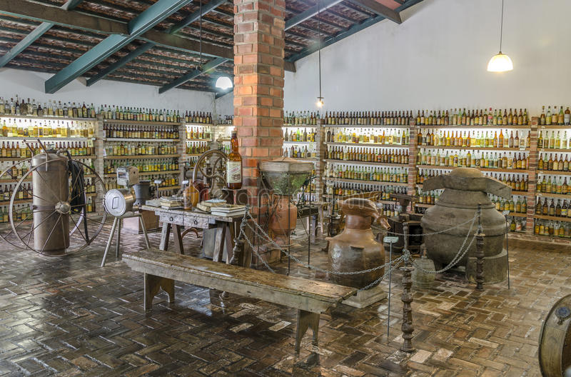 VALE VERDE , BETIM ,BRAZIL-Museum of cachaca. VALE VERDE , BETIM ,BRAZIL- MARCH 14 , 2015 ;Museum of cachaca, the most popular alcohol in Brazil, in ecological stock image