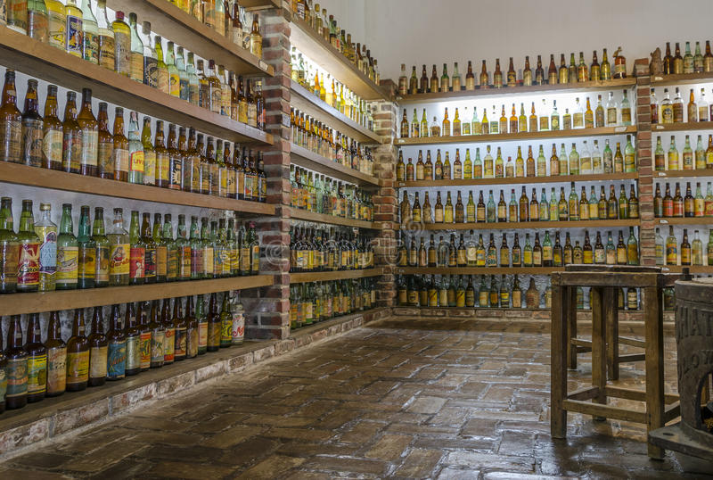 VALE VERDE , BETIM ,BRAZIL-Museum of cachaca. VALE VERDE , BETIM ,BRAZIL- MARCH 14 , 2015 ;Museum of cachaca, the most popular alcohol in Brazil, in ecological royalty free stock image