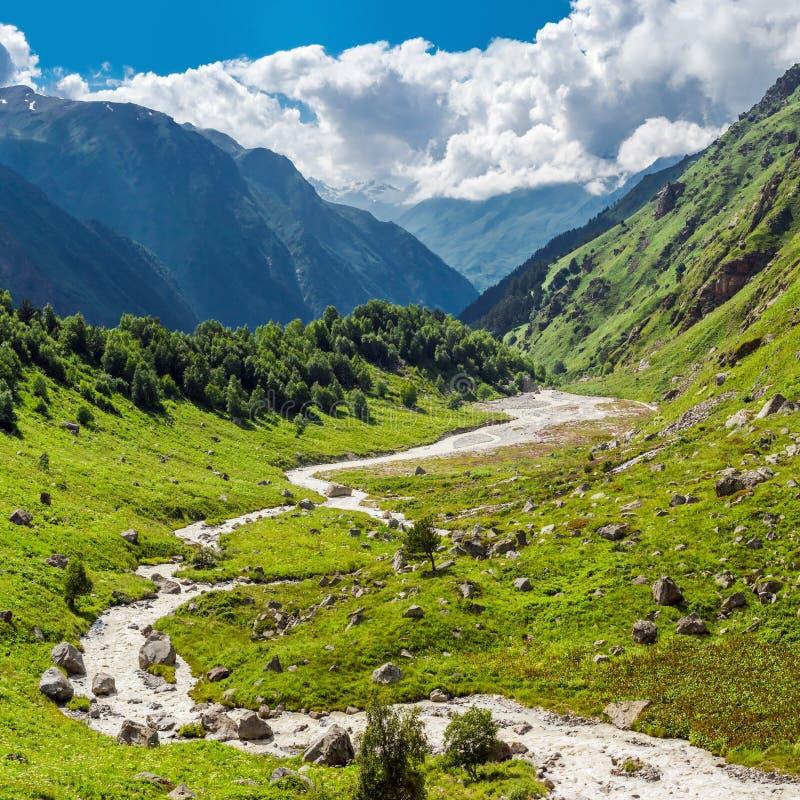 Vale verde da montanha fotografia de stock