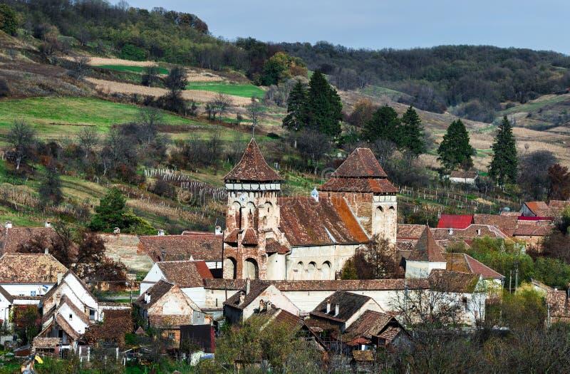 Valea Viilor,在罗马的特兰西瓦尼亚地标被加强的教会  库存图片