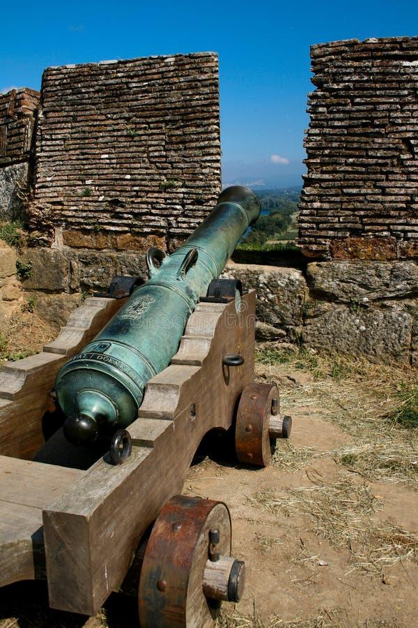 Valença堡垒的大炮做指向往从城垛的城市的米尼奥省 库存图片