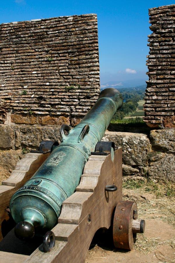 Valença堡垒的大炮做指向往从城垛的城市的米尼奥省 库存照片