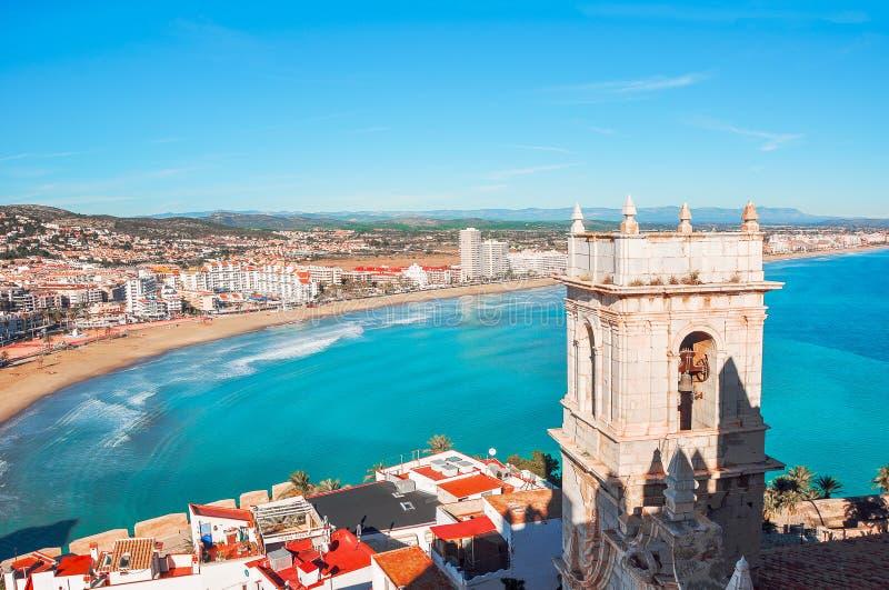 Valença, Spain Vista do mar de uma altura do castelo imagens de stock