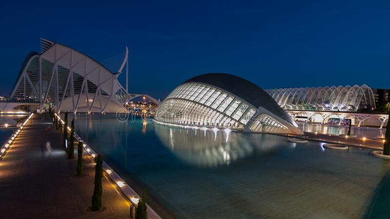 Valence, Espagne - 28 avril 2019 : Ville de ciencias de las de Ciudad de las artes y des arts et des sciences, con?ue par Calatra photographie stock libre de droits