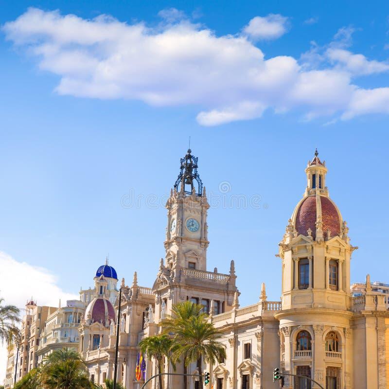 Valencia Ayuntamiento-stadsstadhuis die Spanje bouwen stock afbeelding
