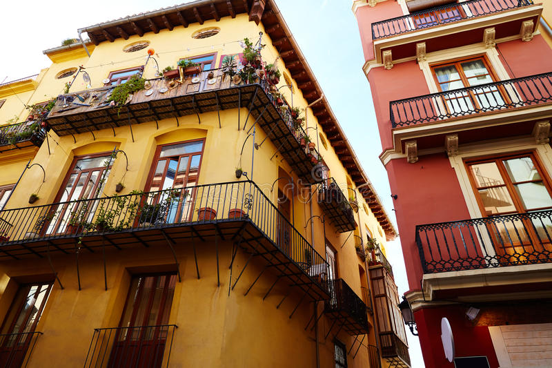 Valencia barrio del Carmen street facades Spain. Valencia barrio del Carmen street facades in Spain stock photos