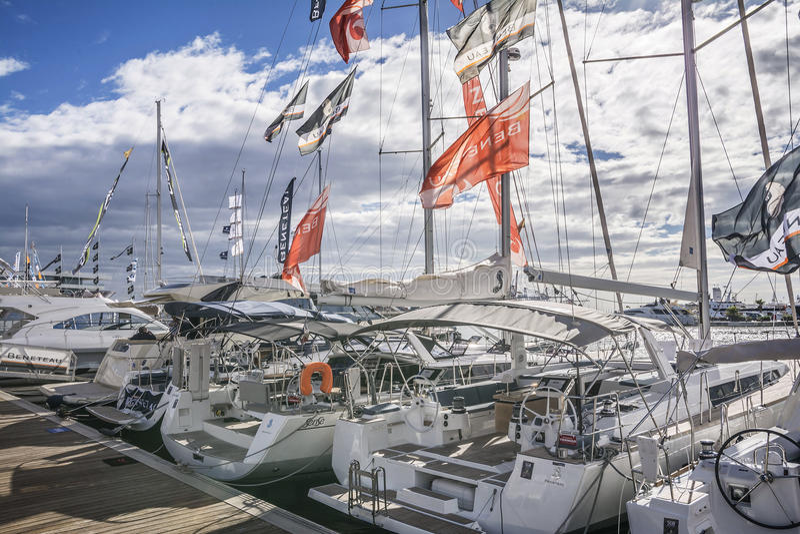 Valencia Boat Show chez Marina Real Juan Carlos I images stock