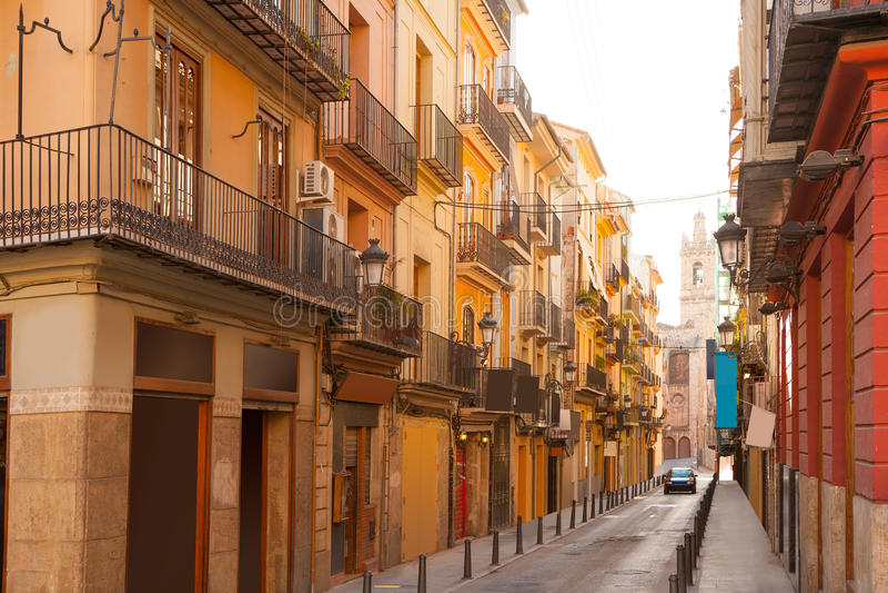 Valencia Bolseria Street in Barrio del Carmen downtown. Spain royalty free stock image