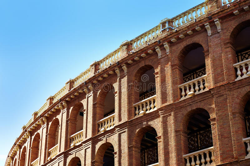 Valencia bullring Plaza de Toros in Xativa street. Of Spain royalty free stock images