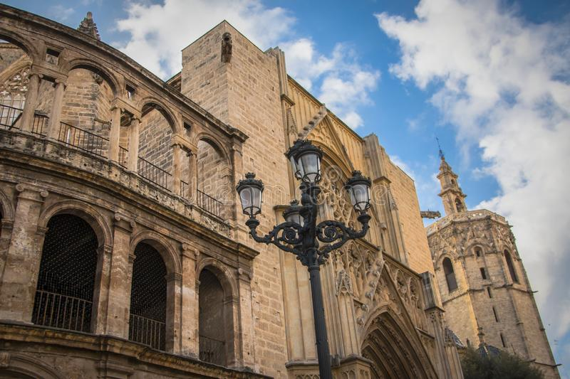 Valencia Cathedral, a beautiful gothic temple in Valencia, Spain royalty free stock photography