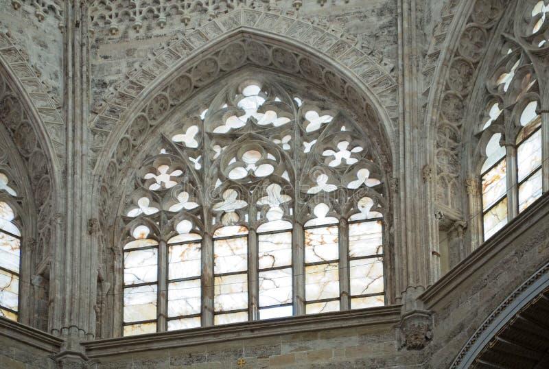 Valencia Cathedral Interior La iglesia tiene diversos estilos arquitectónicos imagen de archivo libre de regalías