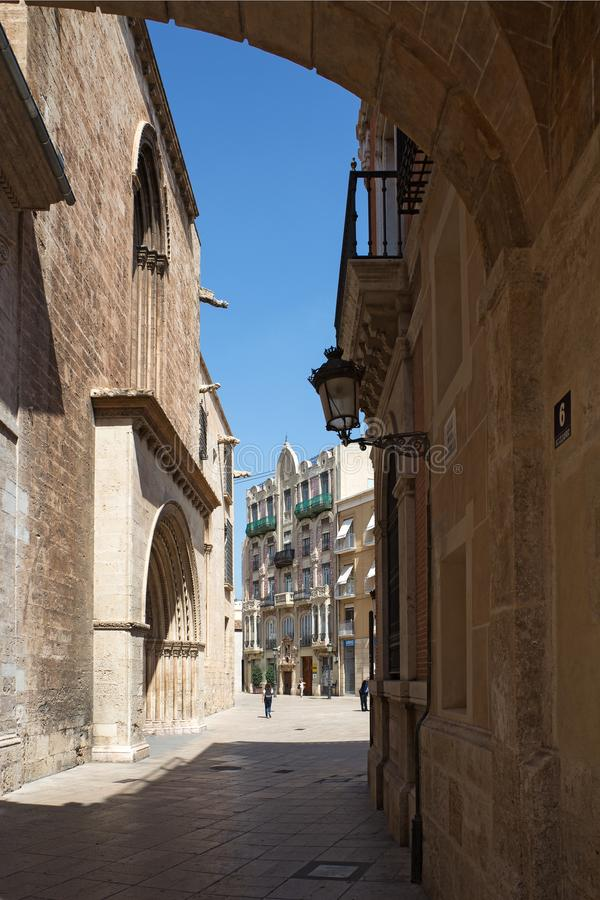 Valencia Cathedral side view stock images