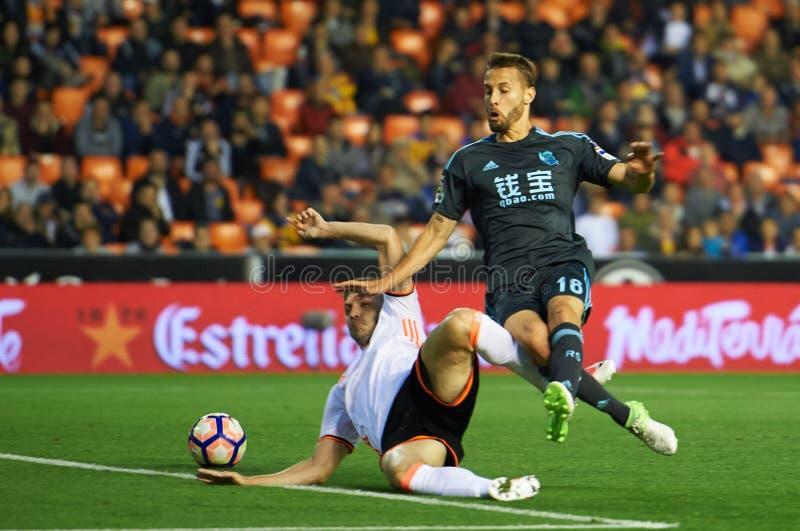 Valencia CF contra Real Sociedad - La Liga imagem de stock