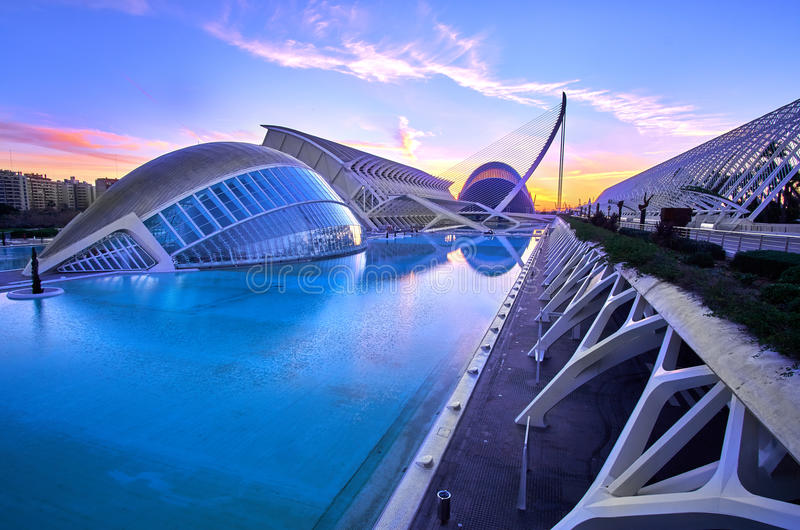 Valencia City of Arts and Sciences Sunrise. Valencia Spain Modern City of arts and Sciences Sunrise stock photography