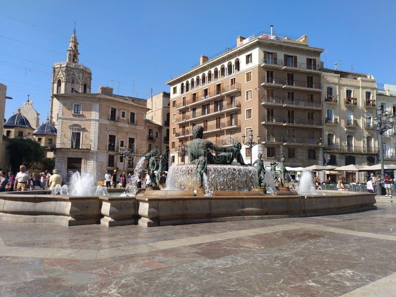 Valencia city fountain royalty free stock photos