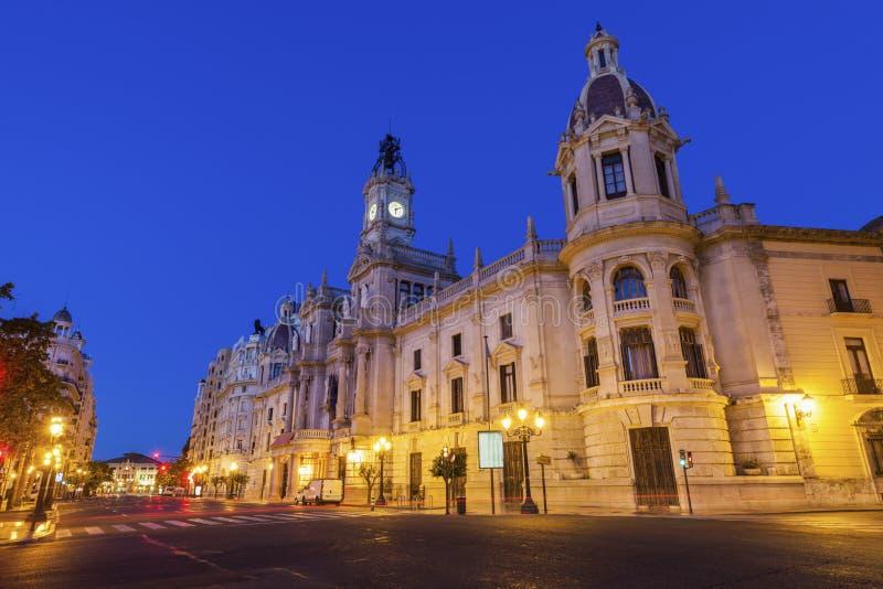 Valencia City Hall en Plaza del Ayuntamiento en Valencia imágenes de archivo libres de regalías