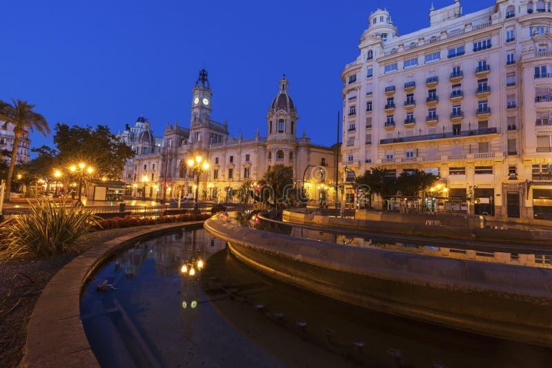 Valencia City Hall en Plaza del Ayuntamiento en Valencia fotografía de archivo