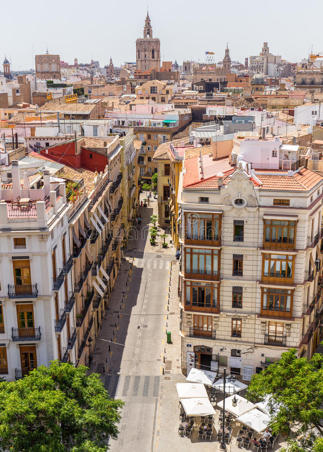 Valencia cityyscape view fron Seranos Tower. VALENCIA -JUNE 24: Valencia cityyscape view fron Seranos Tower on June 24 2016 in Valencia, Spain. The Old Town is a royalty free stock photography