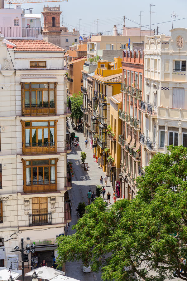 Valencia cityyscape view fron Seranos Tower. VALENCIA -JUNE 24: Valencia cityyscape view fron Seranos Tower on June 24 2016 in Valencia, Spain. The Old Town is a royalty free stock image