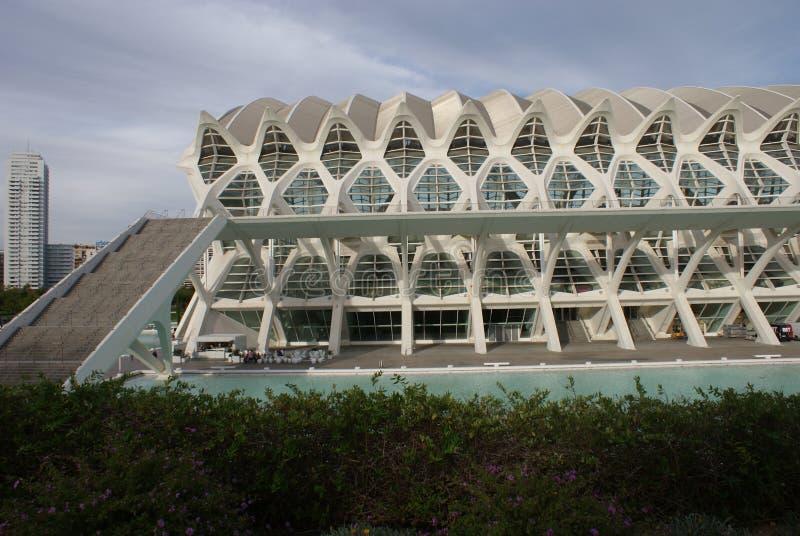 Valencia Ciudad de las Artes y las Ciencias - Museo de las Ciencias Principe Felipe royaltyfria bilder