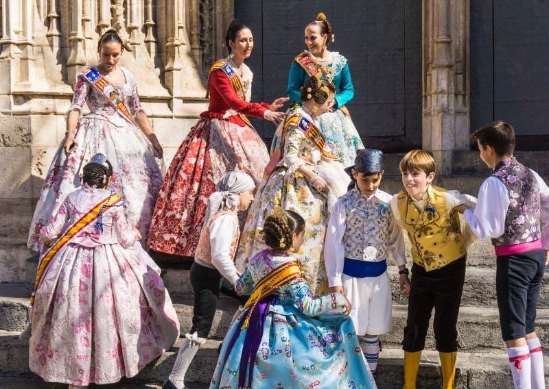 Valencia Fallas festival traditional spanish costumes. stock photo