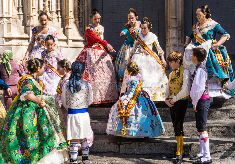 Valencia Fallas festival traditional spanish costumes. royalty free stock images