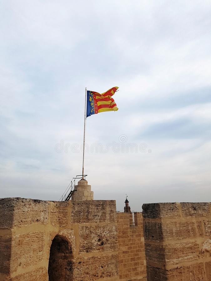 Valencia flag in the sky royalty free stock image