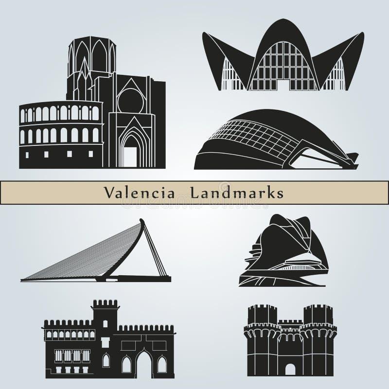 Valencia Landmarks vektor illustrationer