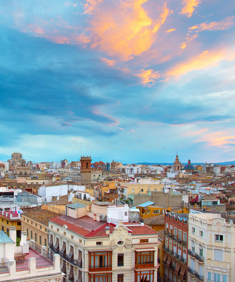 Valencia Old Town , Spain. View of Valencia at sunset with beautiful slouds royalty free stock photography
