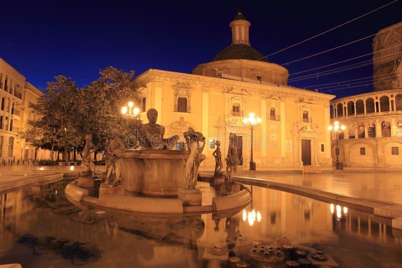 Valencia på natten royaltyfri fotografi