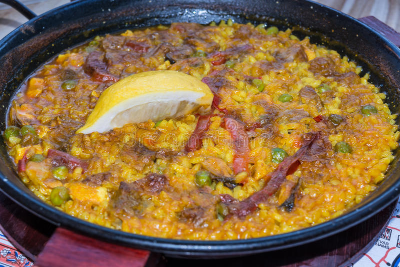 Valencia paella with seafood stock photography