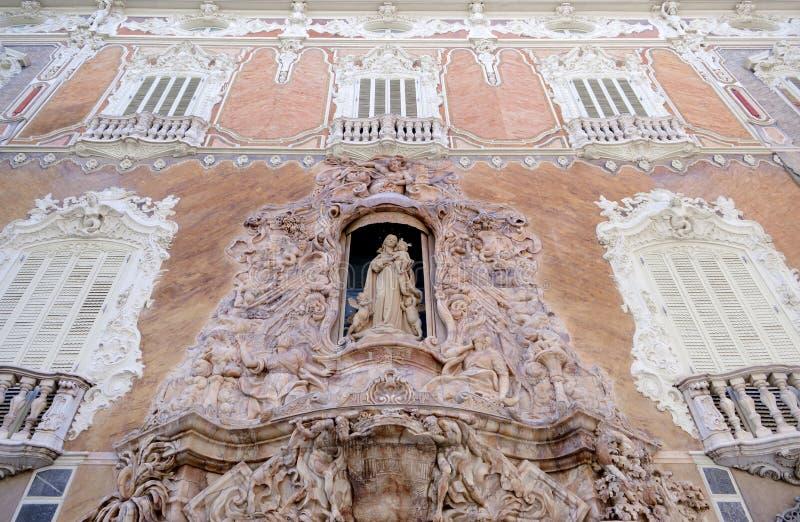 Valencia Palacio Marques de Dos Aguas palace facade in alabaster at Spain royalty free stock photography