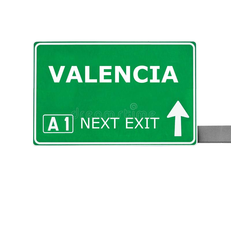 VALENCIA road sign isolated on white stock photography