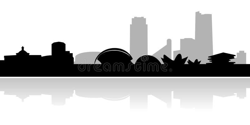 Valencia-Skyline und Grenzsteine vektor abbildung