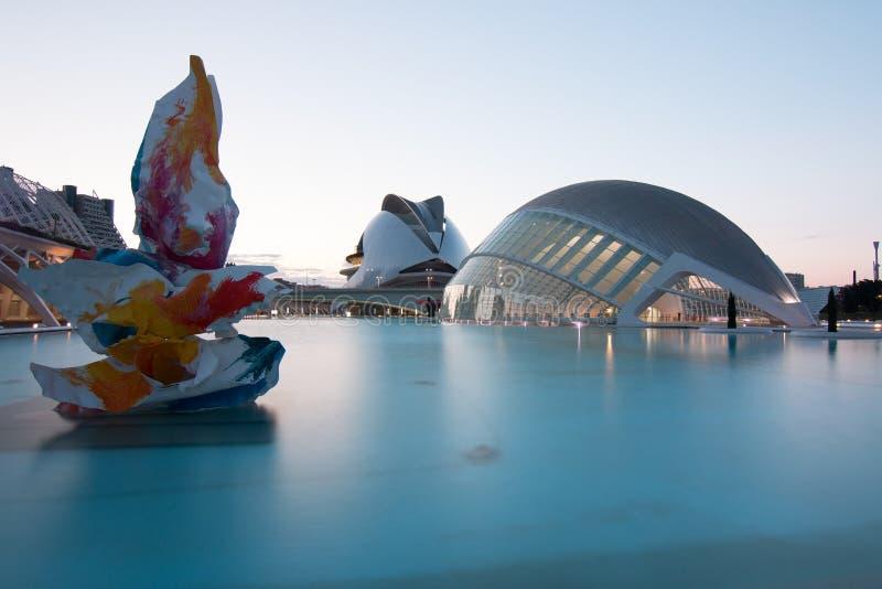 Valencia, Spagna - 28 aprile 2019: Citt? di ciencias di las di Ciudad de las artes y delle arti e delle scienze, progettata da Ca immagini stock libere da diritti
