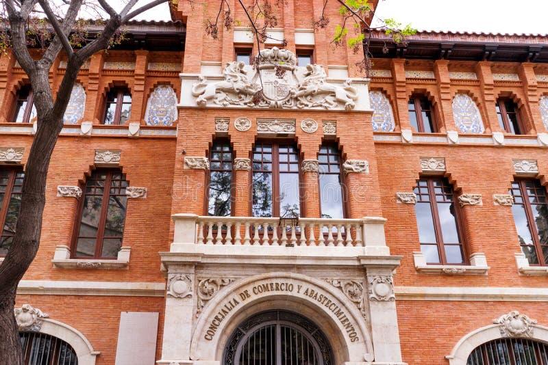 Valencia, Spagna, Europa - camera di commercio il dettaglio della facciata della costruzione fotografie stock libere da diritti