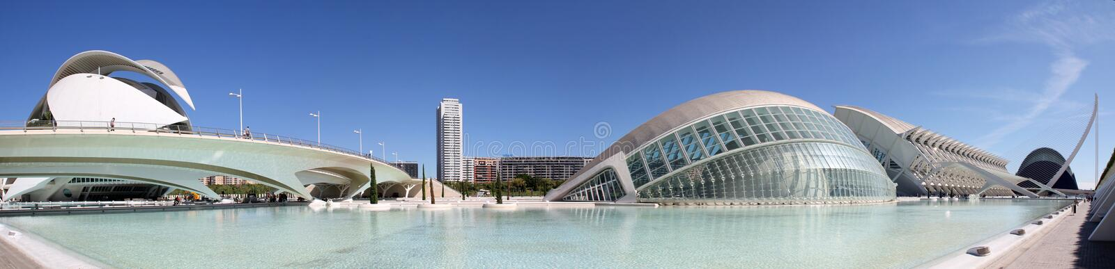 Valencia, Spain. Panoramic view at City of Arts and Sciences in Valencia, Spain. City was Designed by Santiago Calatrava and Felix Candela and was finished at stock photography