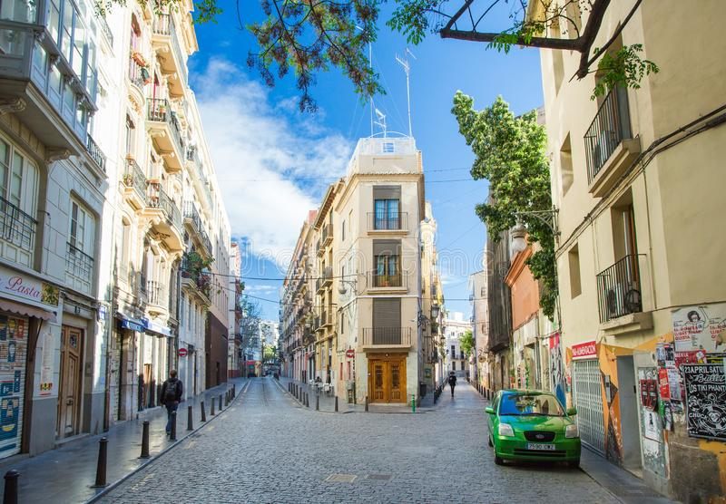 Valencia, Spain - April 16, 2016. Narrow streets and building in Valencia royalty free stock image
