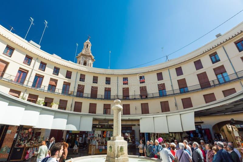 Valencia, Spain - April 16, 2016: Plaza Redona full of tourists stock images