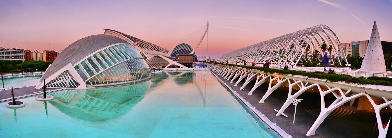 City of Arts and Sciences in Valencia, Spain. City of Arts and Sciences at sunset in Valencia, Spain royalty free stock photos