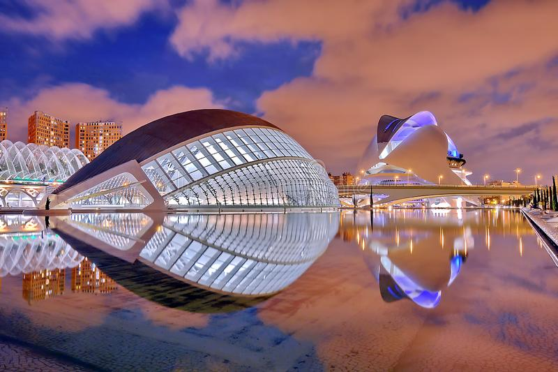 Valencia, Spain. City of Arts and Sciences at sunset in Valencia, Spain stock photos