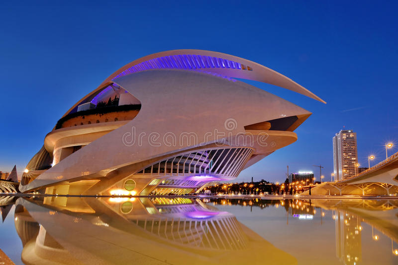 Valencia, Spain. City of Arts and Sciences Opera at sunset in Valencia, Spain royalty free stock photography