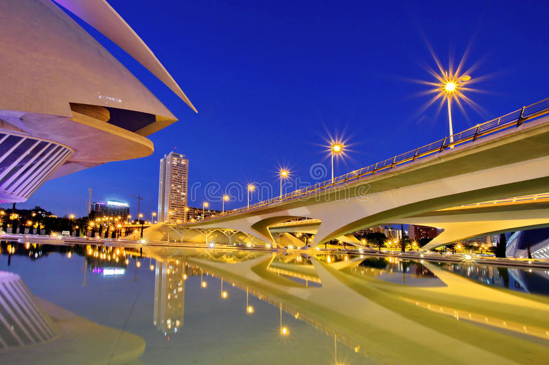 Valencia, Spain. City of Arts and Sciences at sunset in Valencia, Spain royalty free stock images