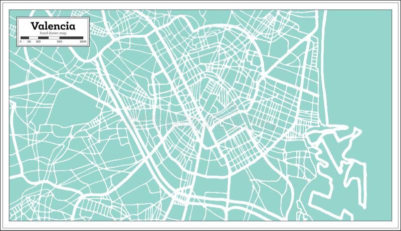Valencia Spain City Map im Retrostil Antilocapra Americana stock abbildung
