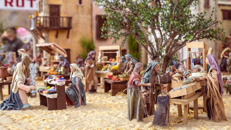 Valencia, Spain - December 02, 2016: Nativity scene. Nativity scene with hand-colored wooden figures in public market hall in Valencia Spain stock images