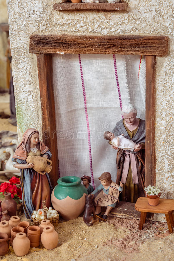 Valencia, Spain - December 02, 2016: Nativity scene. Nativity scene with hand-colored wooden figures in public market hall in Valencia Spain royalty free stock photography