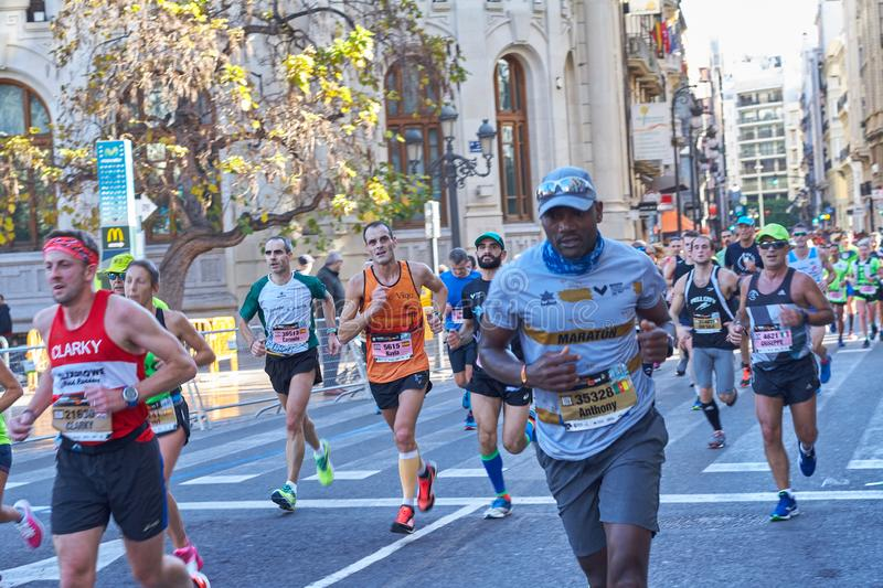 VALENCIA, SPAIN - DECEMBER 02: Runners compete in the XXXVIII Valencia Marathon on December 18, 2018 in Valencia, Spain stock images