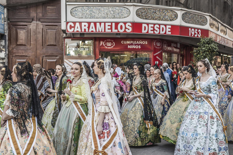 Valencia,Spain. Fallas, Falles, traditional and famous celebration, parade women typical valencian dresses,Valencia, Spain royalty free stock photography